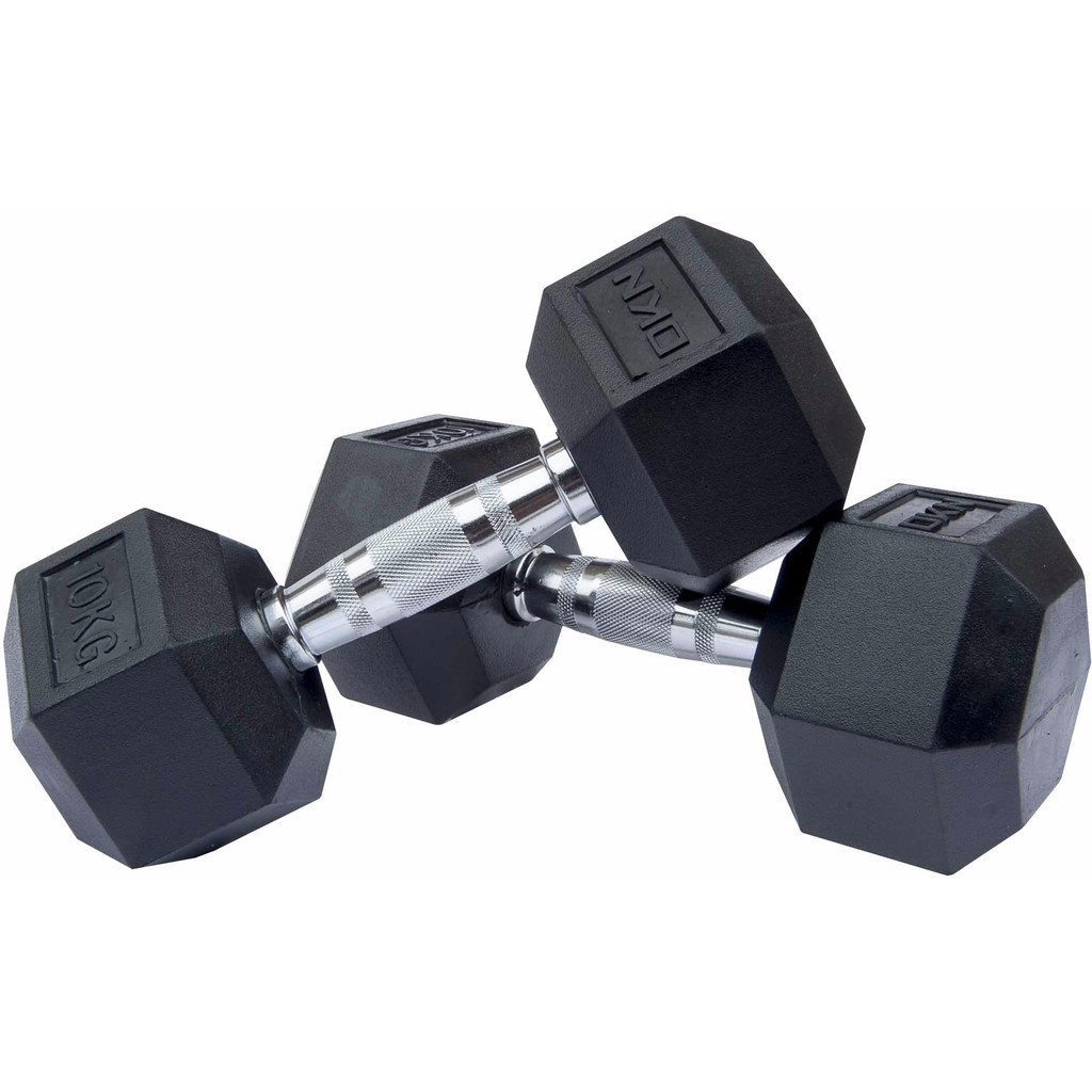 DKN Rubber Hex Dumbbell 2 x 10kg in Leutes