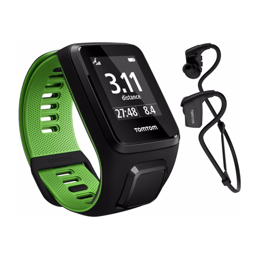 TomTom Runner 3 Cardio + Music + Headphone Black/Green - L in Heille