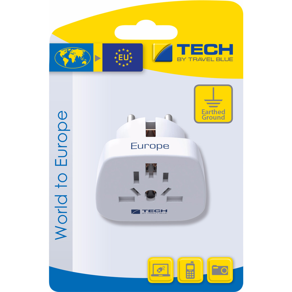 Travel Blue Wereld Adapter - Europa in Oranje