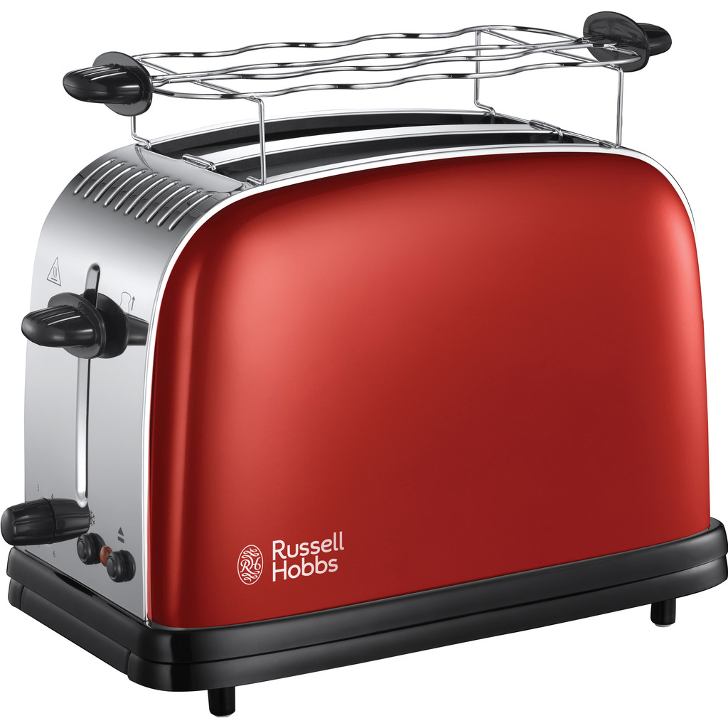 Russell Hobbs Colours Plus+ Flame Red Broodrooster 23330-56 in Spijkerboor