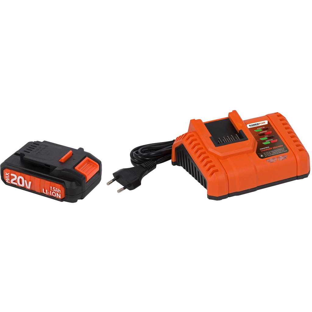 Powerplus Dual Power Acculader + Accu 20V 1,5 Ah Li-Ion in Ocquier