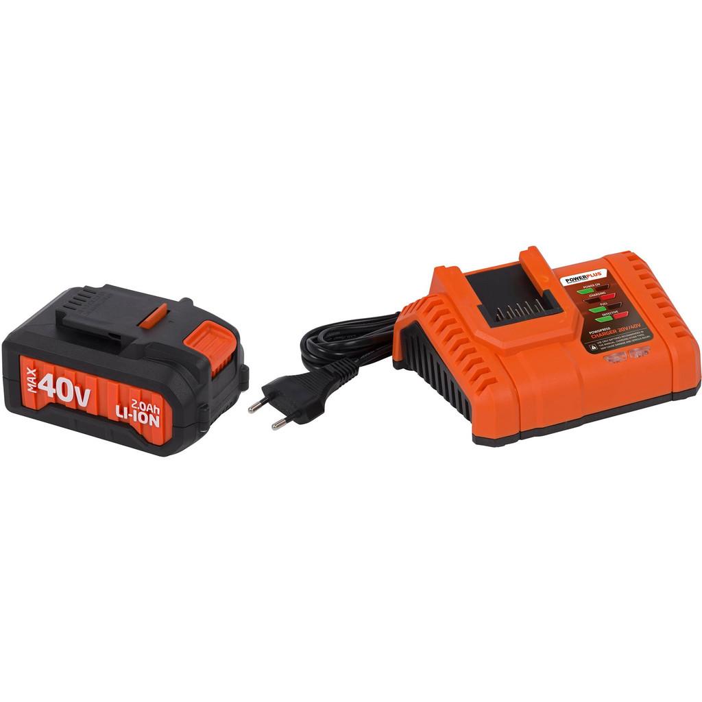 Powerplus Dual Power Acculader + Accu 40V 2,0 Ah Li-Ion in Rakt