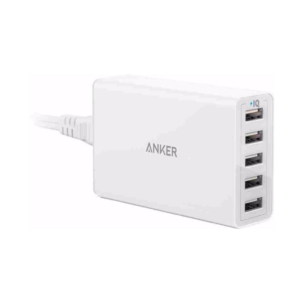 Afbeelding van Anker PowerPort 5 met USB Poorten 8A Wit thuislader