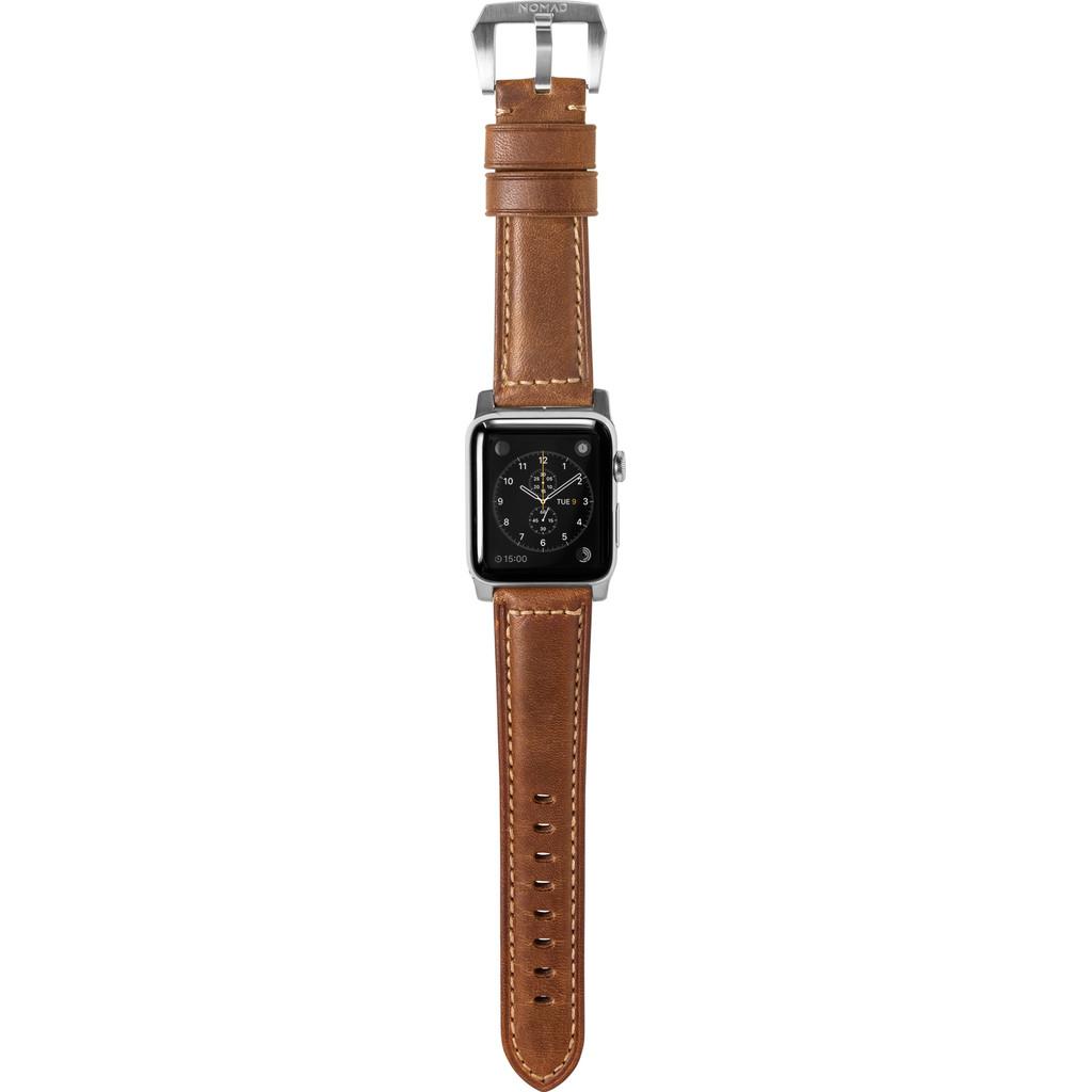 Nomad Apple Watch 42mm Leren Polsband Bruin/Zilver kopen