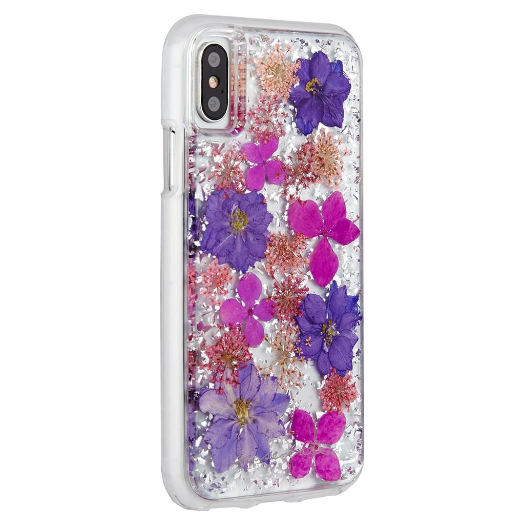 Afbeelding van Case Mate Karat Petals Apple iPhone X Back Cover Paars telefoonhoesje