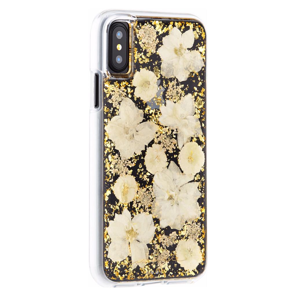 Afbeelding van Case Mate Karat Petals Apple iPhone X Back Cover Goud telefoonhoesje