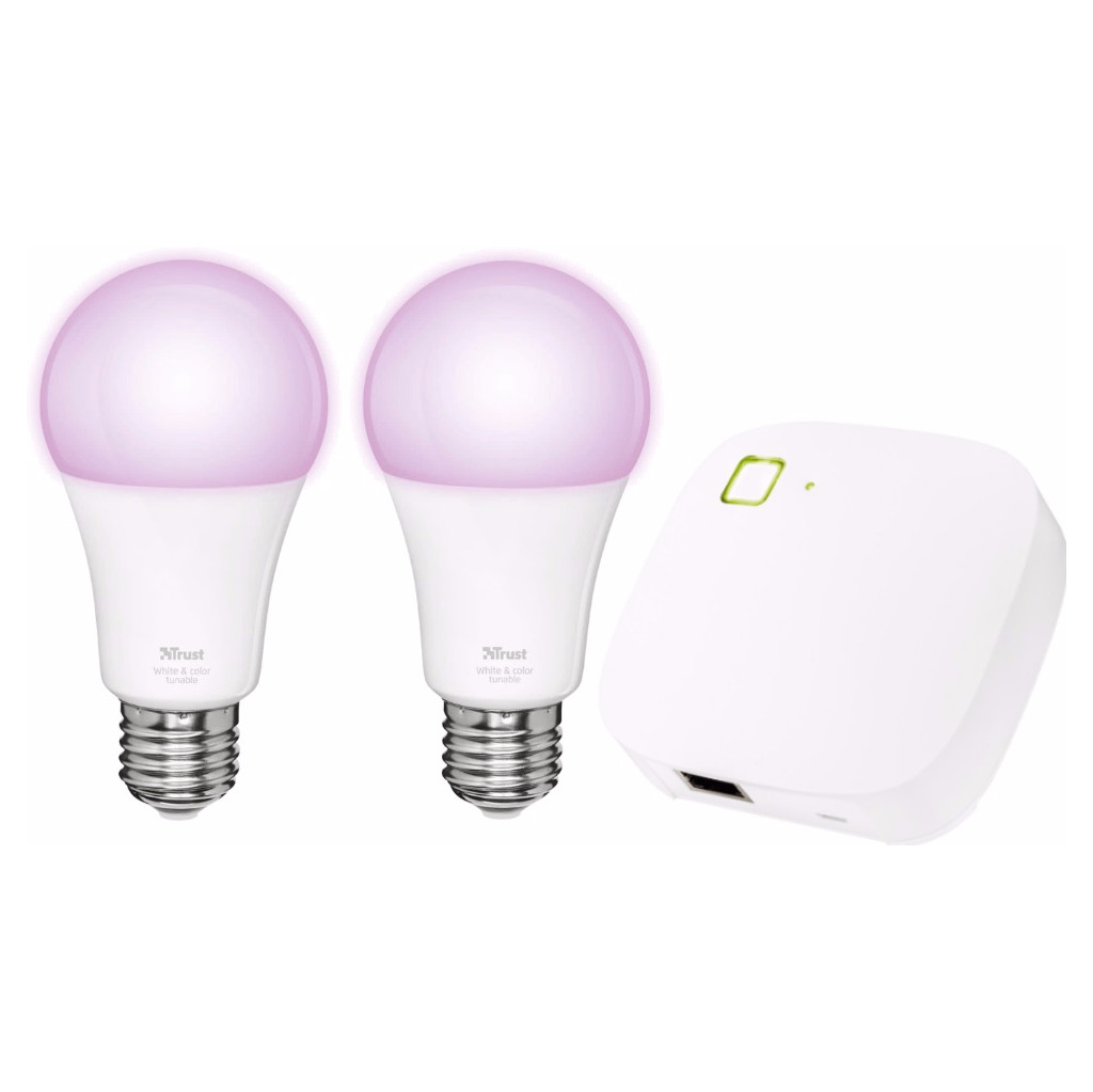 Trust Smart Home White and Color E27 Duopack + Z1 Bridge in Grolloo