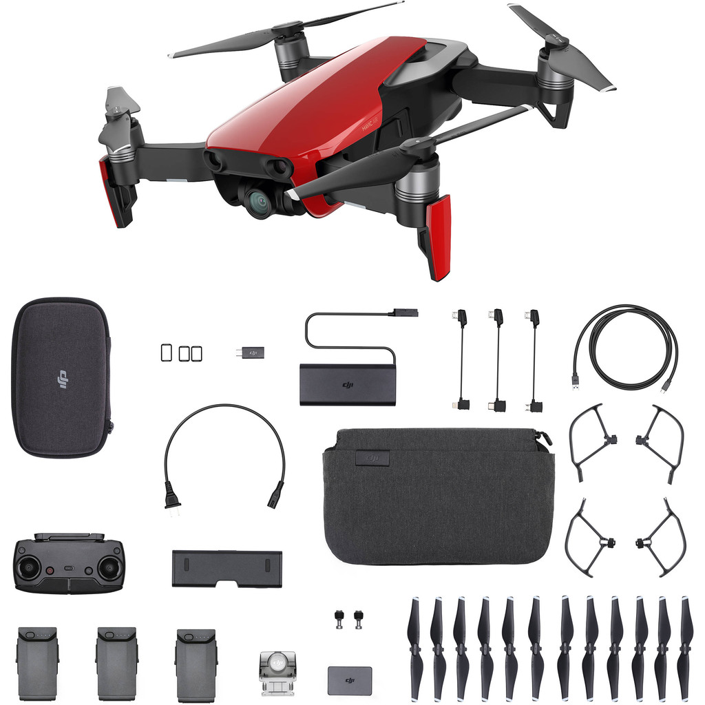 DJI Mavic AIR Fly More Combo Flame Red-12 megapixels, filmt in 4K  Met afstandsbediening  3 assige beeldstabilisatie