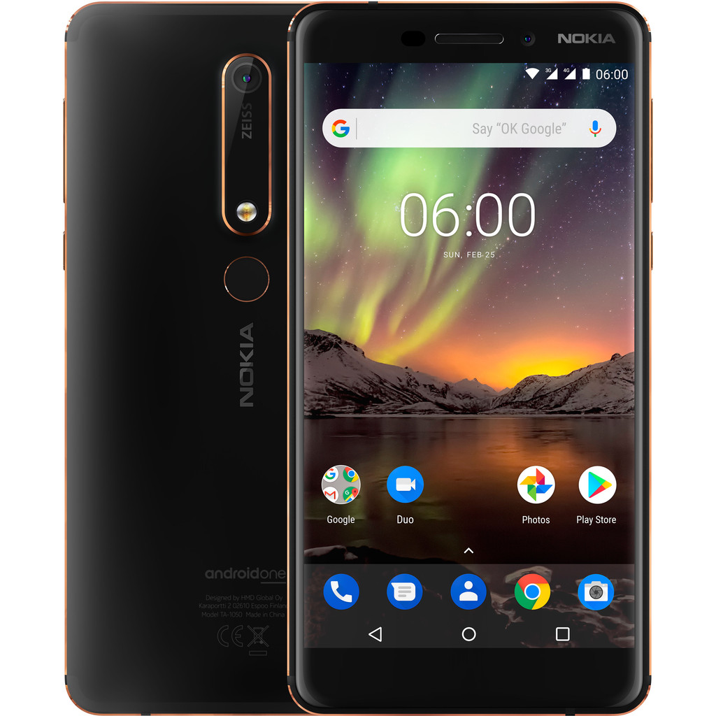 Nokia 6.1 32 GB Zwart-32 GB opslagcapaciteit  5,5 inch Full HD scherm  Android 8.0 Oreo