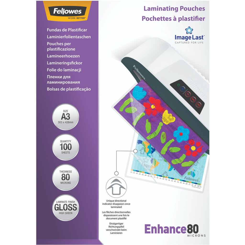 Fellowes Lamineerhoezen Enhance 80 mic A3 (100 stuks) in Delfzijl