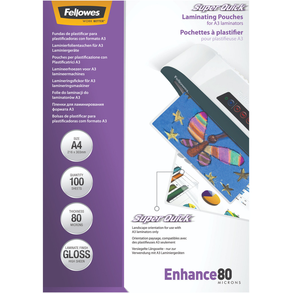 Fellowes Lamineerhoezen SuperQuick 80 mic A4 (100 Stuks) in Weakens