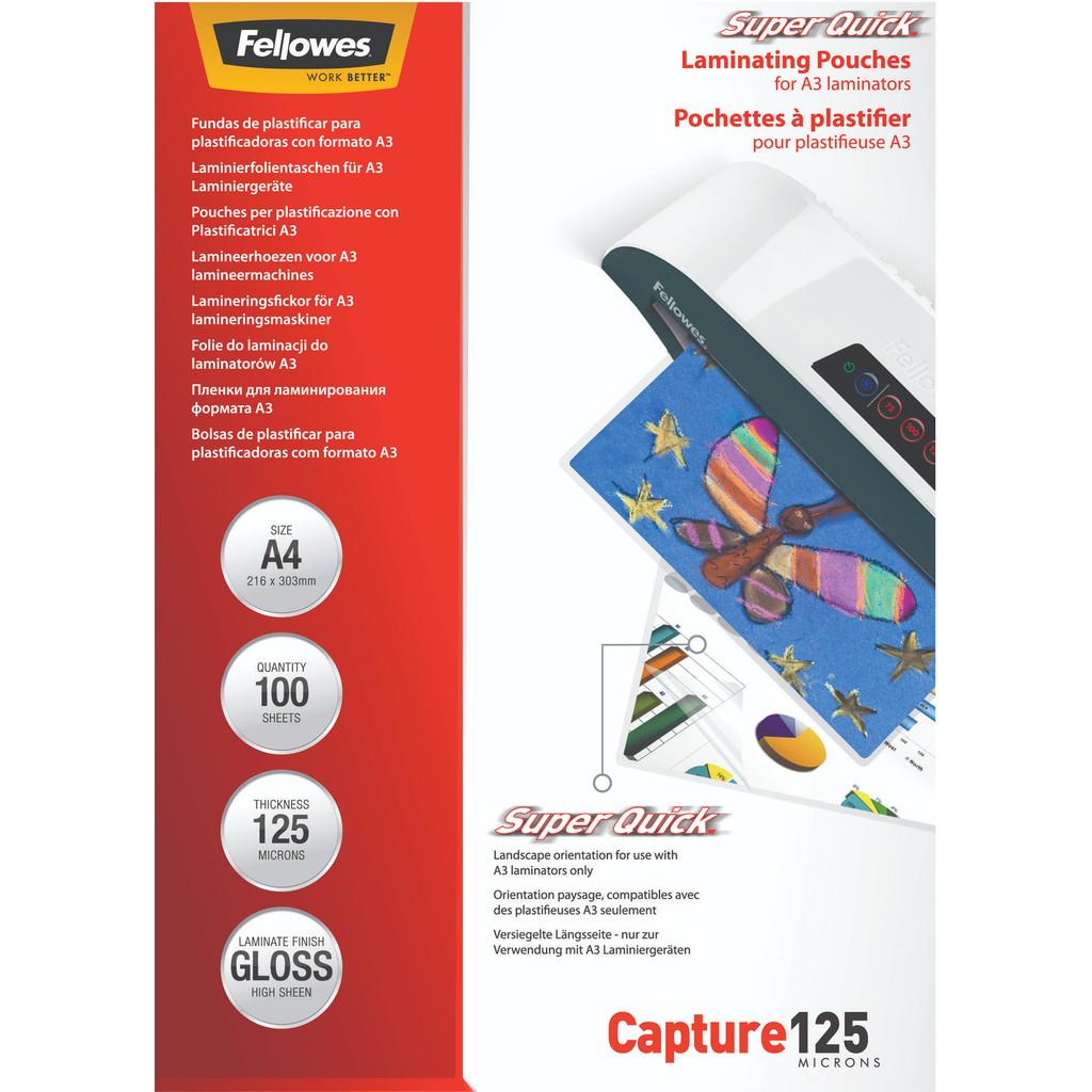 Fellowes Lamineerhoezen SuperQuick 125 mic A4 (100 Stuks) in Halfeind