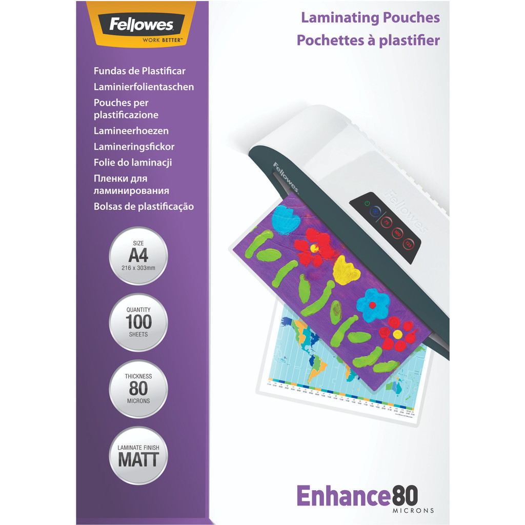 Fellowes Lamineerhoezen Enhance Mat 80 mic A4 (100 Stuks) in Roderwolde