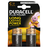 Duracell Plus Power alkaline C batteries 2 pieces