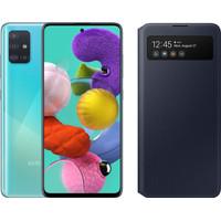 Samsung Galaxy A51 Blue + Samsung S View Wallet Cover Black