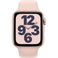 Apple Watch SE 44mm Roségoud Aluminium Roze Sportband
