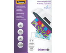 Fellowes Laminating Sheets Enhance 80mic A3 (100 units)