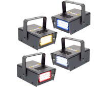 Beamz LED Mini Strobe Set 4pcs. W/R/Y/B