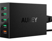 Aukey Charger with Micro Usb Cable 5 Ports 18W Quick Charge 3.0 Black