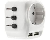 BlueBuilt All-in-one Travel Adapter USB White