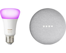 Google Nest Mini Wit + Philips Hue White and Color E27 Losse Lamp Bluetooth
