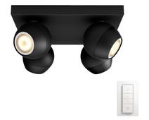 Philips Hue Buckram Mounted Spot White Ambiance 4 Lights Black Bluetooth