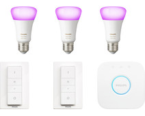 Philips Hue White & Color Starter Pack E27 with 3 lamps + 2 dimmers