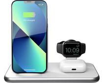 ZENS 3-in-1 Draadloze Oplader 15W met Standaard en Apple Watch Oplader Wit