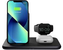 ZENS 3-in-1 Draadloze Oplader 15W met Standaard en Apple Watch Oplader Zwart