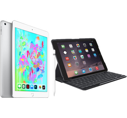 Combipakket - Apple iPad (2018) 32GB Silver + Hoes + Pencil