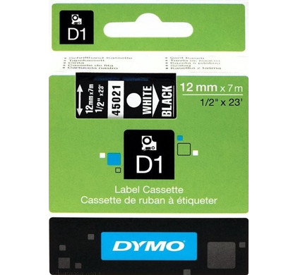 DYMO D1 Tape Wit-Zwart (12 mm x 7 m)