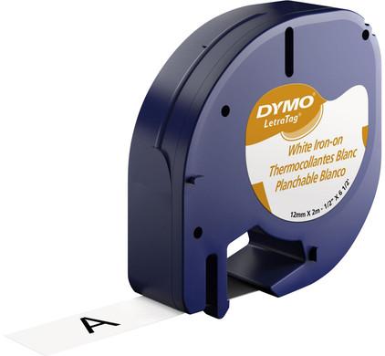 DYMO LetraTag Lettertape Opstrijkbaar Zwart-Wit (12mm x 2m)