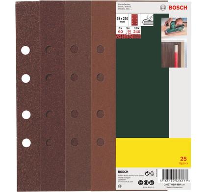 Bosch Schuurpapierset 93x230mm K60, K80, K120, K240 (25x)