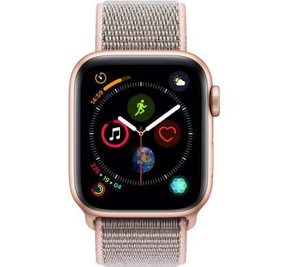 Apple Watch Series 4 40mm Gold Aluminum/Pink Sand Nylon Sport Band Main Image