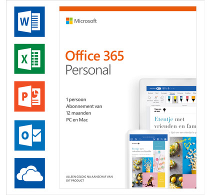 Microsoft Office 365 Personal 1-year Subscription NL Main Image