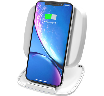 ZENS Single Fast Wireless Charger Stand 10W White Main Image