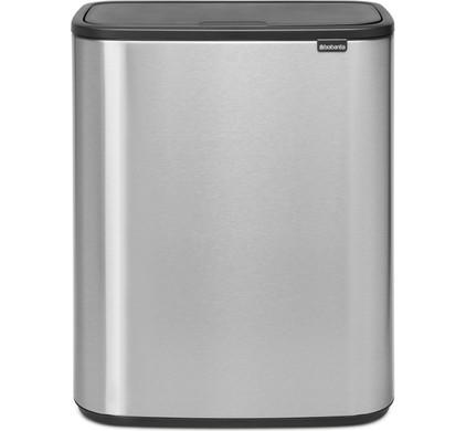 Brabantia Touch Bin 30 Liter Mat Staal.Brabantia Bo Touch Bin 2x30 Liters Steel Fingerprint Proof