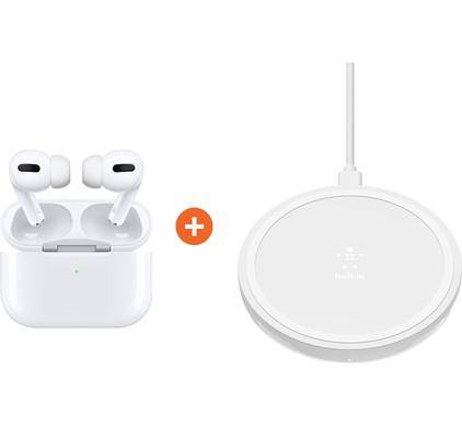 Apple AirPods Pro met Draadloze Oplaadcase + Belkin Boost Up Draadloze Oplader 10W Wit