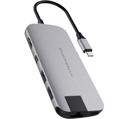 Hyper Slim USB C 8 In 1 Docking Station Space Gray