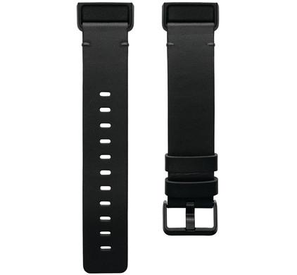 Fitbit Charge 4 Leren Bandje Zwart Maat L