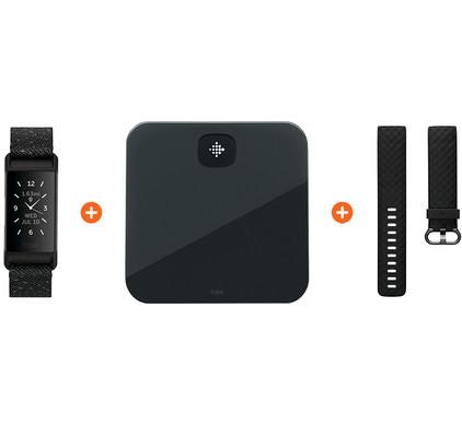 Fitbit Charge 4 Speciale Editie Graniet + Fitbit Aria Air Zwart + Extra Kunststof Bandje