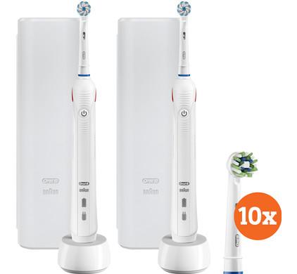 Oral-B PRO 2 2500 Duo Pack wit + Cross Action opzetborstels (10 stuks)