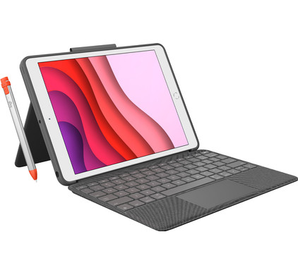 Logitech Combo Touch Apple iPad (2020)/(2019) Toetsenbord Hoes QWERTY + Pencil