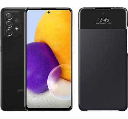 Samsung galaxy a72 128 gb zwart + samsung smart s view wallet zwart