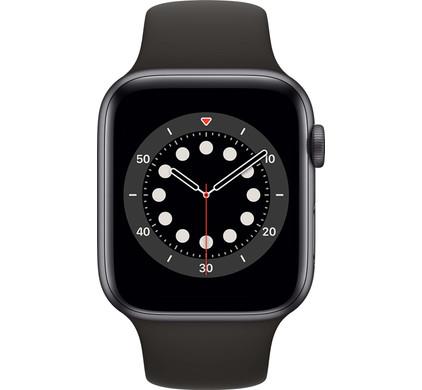 Apple Watch Series 6 44mm Space Gray Aluminium Zwarte Sportband