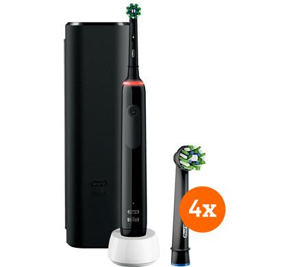 Oral-B Pro 3 3500 Zwart + CrossAction opzetborstels (4 stuks)