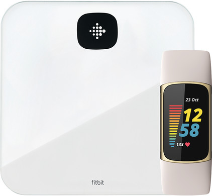 Fitbit Charge 5 Wit/Goud + Fitbit Aria Air Wit