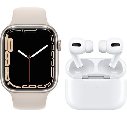 Apple Watch Series 7 45mm Witgoud Aluminium Crème Sportband + Apple AirPods Pro