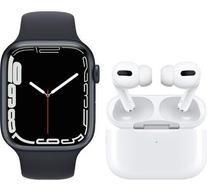 Apple Watch Series 7 45mm Nachtblauw Aluminium Nachtblauwe Sportband + Apple AirPods Pro