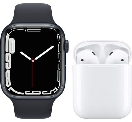 Apple Watch Series 7 45mm Nachtblauw Aluminium Nachtblauwe Sportband + Apple AirPods 2